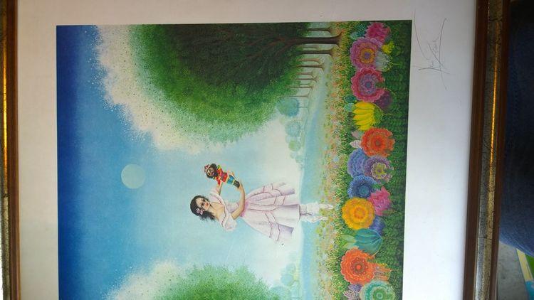 Rechts, Blumenwiese, Menschen, Nußknacker, Malerei, Augen