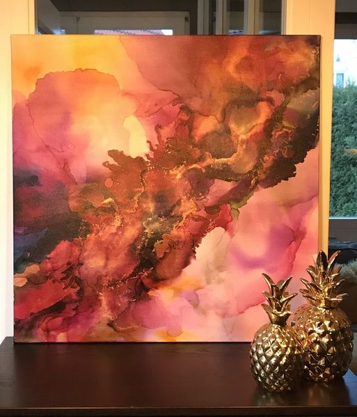 Ocker, Acrylmalerei, Bordeaux, Lila, Gold, Aquarellmalerei