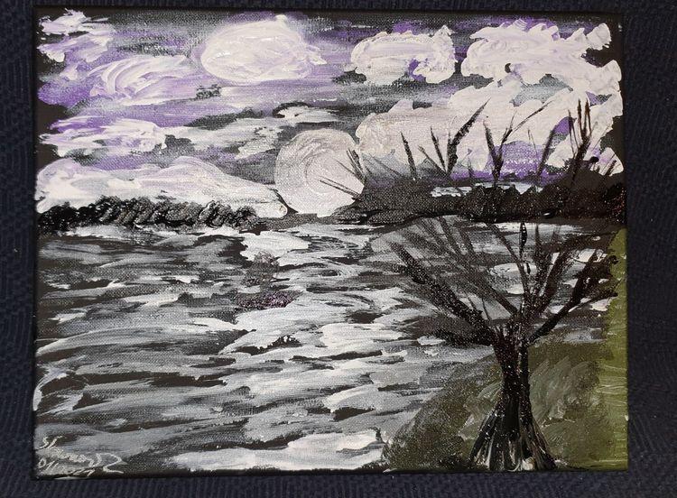 Düster, Wolken, Schwarz, Baum, Lila, Mond