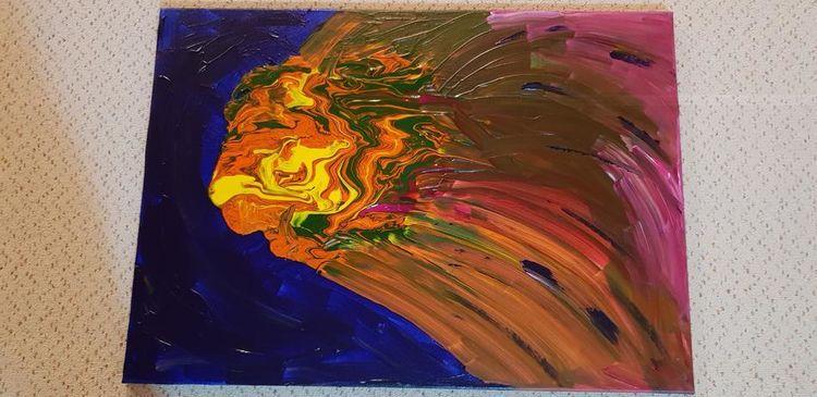 Acrylmalerei, Malerei modern, Malerei, Komet