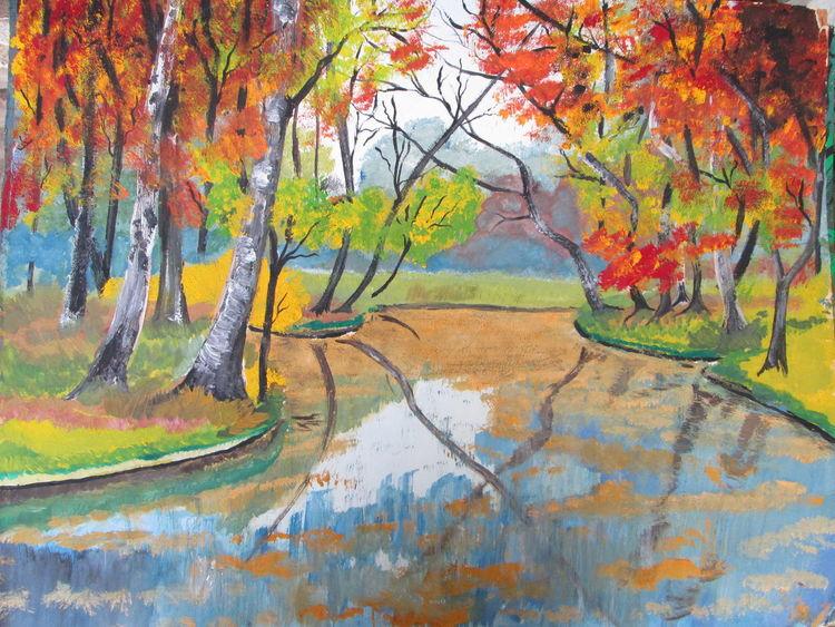 Herbst, Gouachemalerei, Baum, Malerei