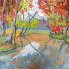Gouachemalerei, Baum, Herbst, Malerei