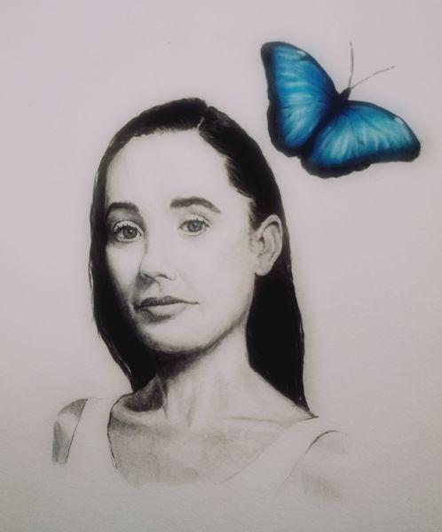 Schmetterling, Portrait, Frau, Malerei, Psyche