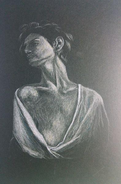 Frau, Buntstiftzeichnung, Menschen, Bluse, Polychromos, Figur