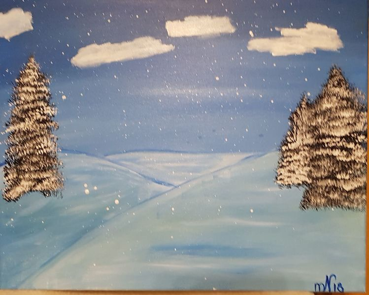 Acrylmalerei, Winterlandschaft, Malerei, Winter,