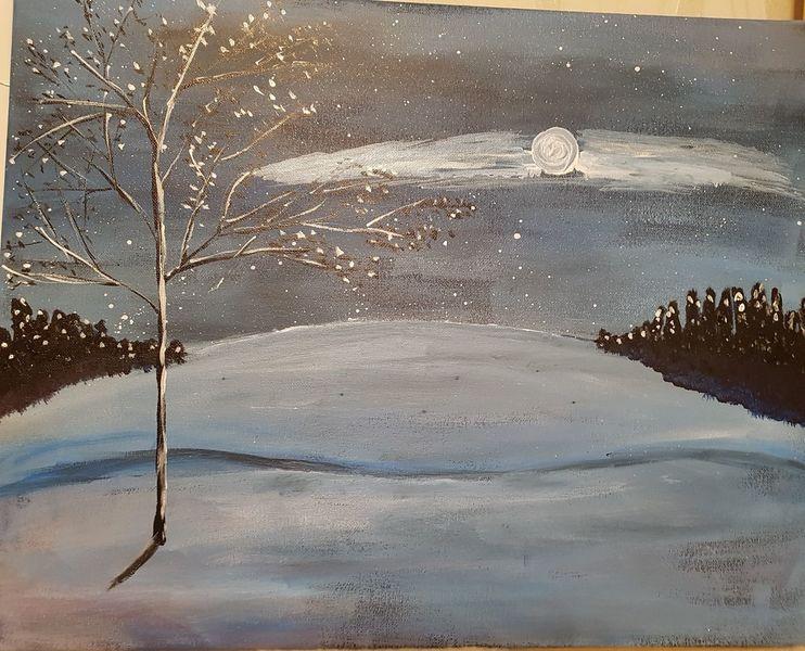 Winterlandschaft, Mond, Acrylmalerei, Malerei, Winter