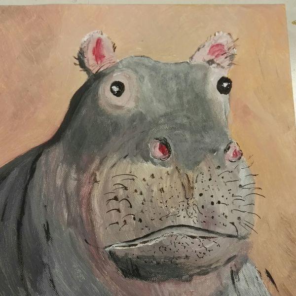 Flusspferd, Tiere, Malerei
