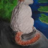 Katze, Teich, Seerosen, Malerei