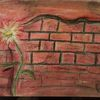 Ziegel, Blumen, Mauer, Malerei