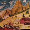 Berge, Dorf, Aquarell,