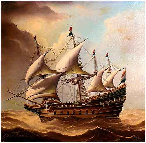 Sturm, Wind, Kogge, Malerei, Segelschiff,