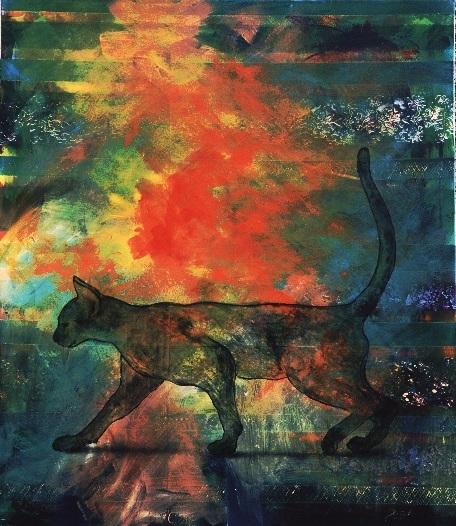 Kunstwerk, Katze, Zeitgenössisch, Kater, Acrylmalerei, Gemälde