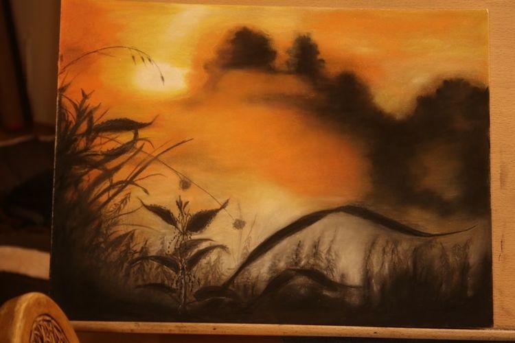 Pastellmalerei, Sonnenaufgang, Nebel, Morgendunst, Zeichnungen, Früh
