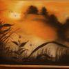 Pastellmalerei, Sonnenaufgang, Nebel, Morgendunst