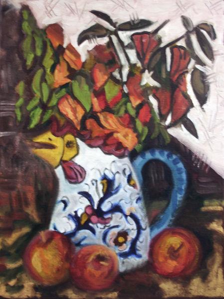 Vase, Physalis, Ölmalerei, Apfel, Blasenkirschen, Malerei
