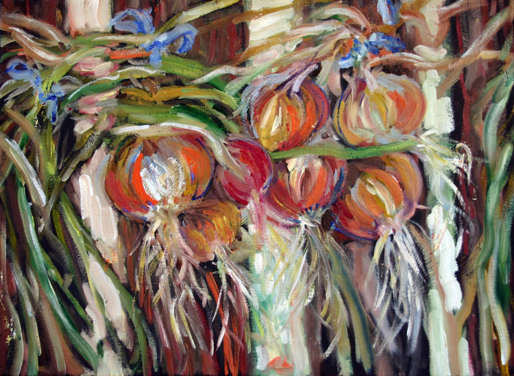 Natur, Ölmalerei, Zwiebeln, Herbs, Malerei