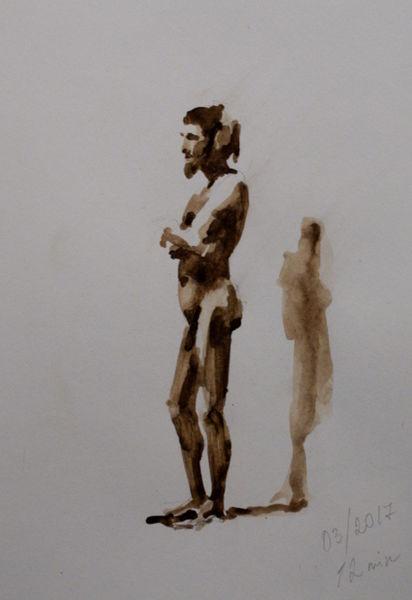 Aquarellmalerei, Akt, Körper, Aquarell