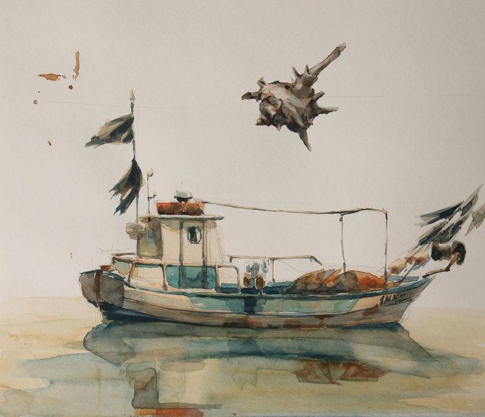 Plenair, Aquarellmalerei, Schiff, Aquarell, Fischerboot