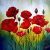 Malerei, Mohn, Rot, Acrylmalerei