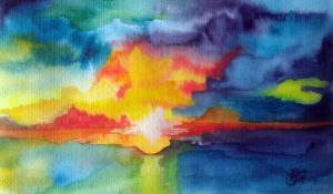 Aquarellmalerei, Sonnenuntergang, Farben, Aquarell, Strand