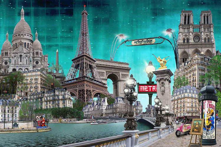 Stadt, Landschaft, Modern art, Blau, Paris, Collage
