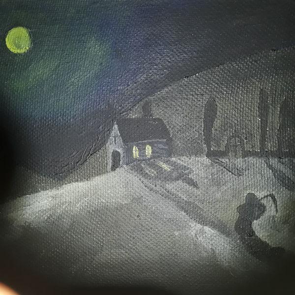 Schwar, Landschaft, Licht, Malerei, Ende, Nacht