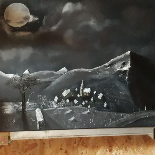 Landschaft, Weiß, Schwarz, Malerei, Nacht