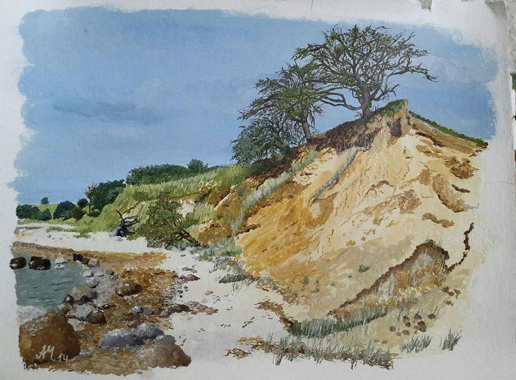 Landschaft, Küste, Strand, Malerei, Teil