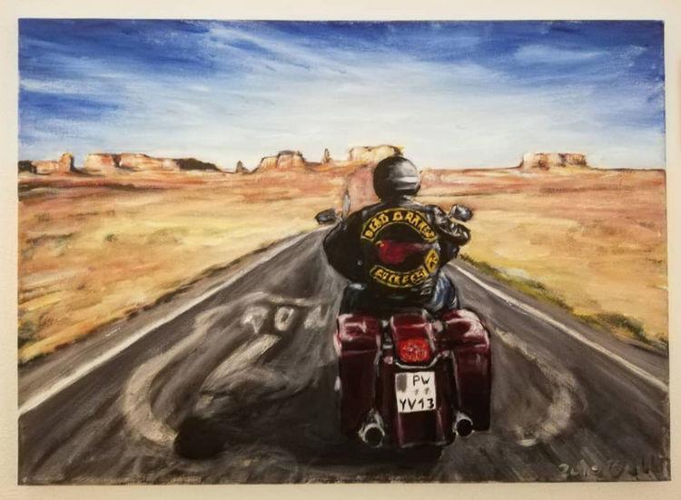 Acrylmalerei, Malerei, Motorrad, Frei, Wind