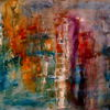 Abstrakt, Gelb, Rot, Malerei
