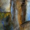 Frau, Schau, Landschaft, Malerei