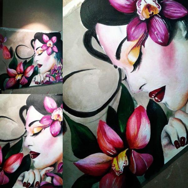 Lotos, Copic, Modern art, Illustration, Schönheit, Geisha