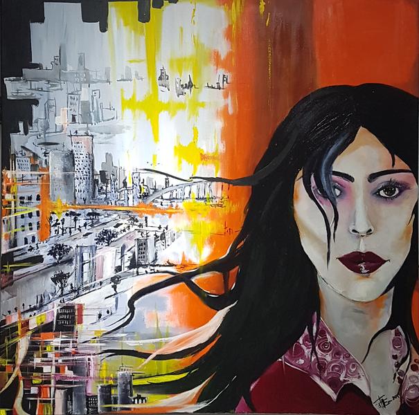 Frau, Welt, Acrylmalerei, Modern, Grau, Modern art