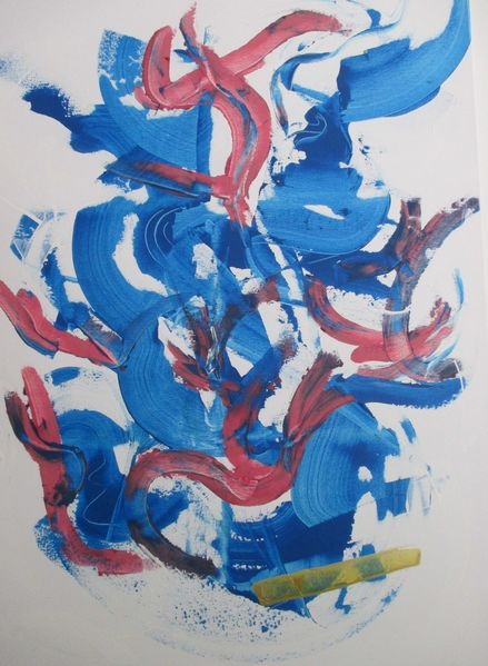 Farben, Abstrakt, Modern, Malerei, Rouge, Bleu