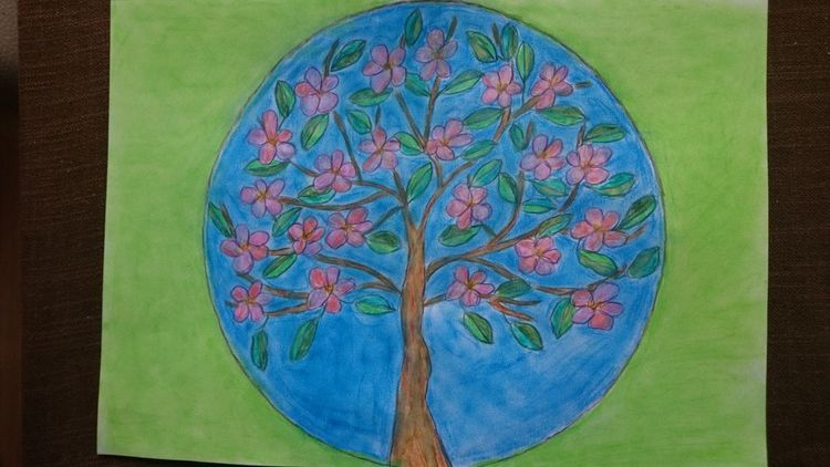Kreis, Mischtechnik, Obstbaum,