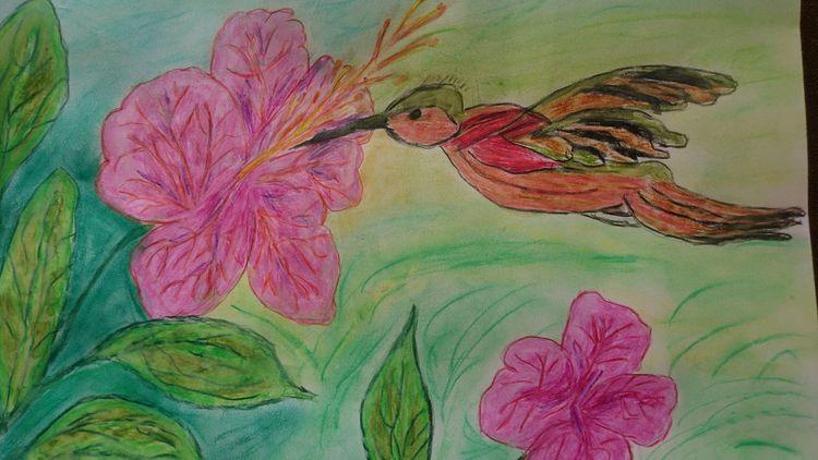 Aquarellmalerei, Mischtechnik, Blumen, Vogel,