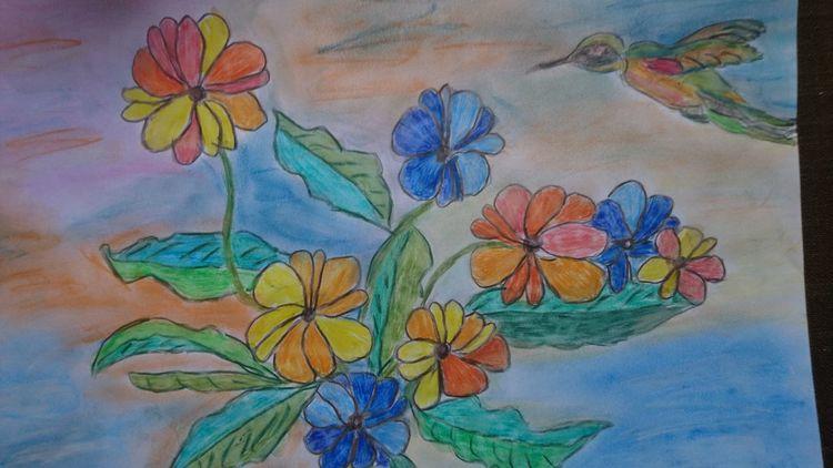 Blumen, Vogel, Aquarellmalerei, Pastellmalerei, Mischtechnik