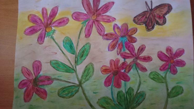Aquarellmalerei, Blumen, Schmetterling, Pastellmalerei, Mischtechnik