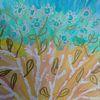 Gold und silber, Baum, Blumen, Aquarell