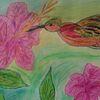 Aquarellmalerei, Mischtechnik, Blumen, Vogel