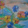 Pastellmalerei, Blumen, Vogel, Aquarellmalerei