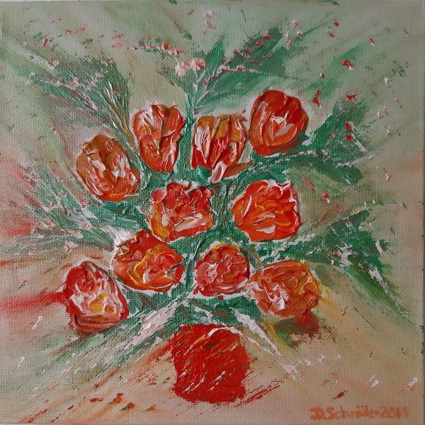 Acrylmalerei, Blumen, Abstrakt, Malerei, Frühlingsgefühle