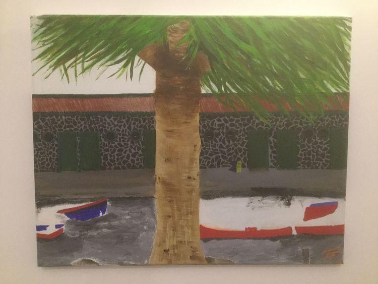 Malerei modern, Hafen, Malerei, Boot, Malerei acrylmalerei, Palmen