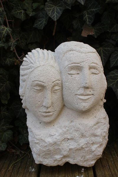 Menschen, Zufriedenheit, Nähe, Gartenskulptur, Zärtlichkeit, Skulptur