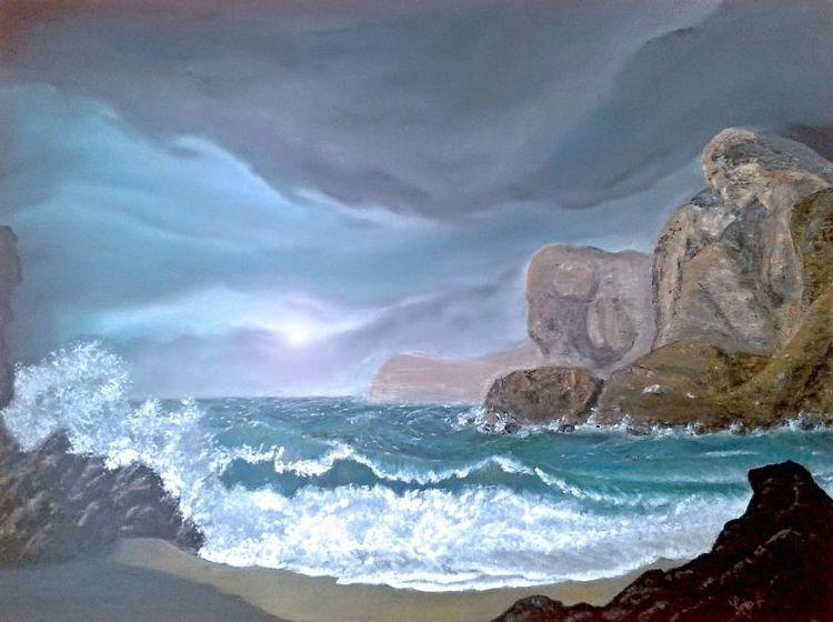 Welle, Acrylmalerei, Meer, Felsen, Mischtechnik, Wasser