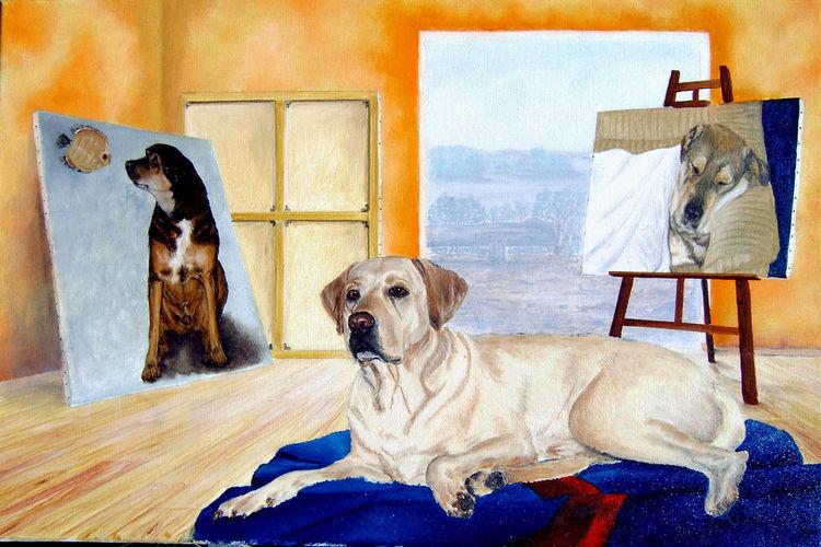 Malerei, Duke, Ölmalerei, Hund,