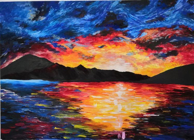 Malerei, Berge, Farben, Meer, Landschaft, Acrylmalerei