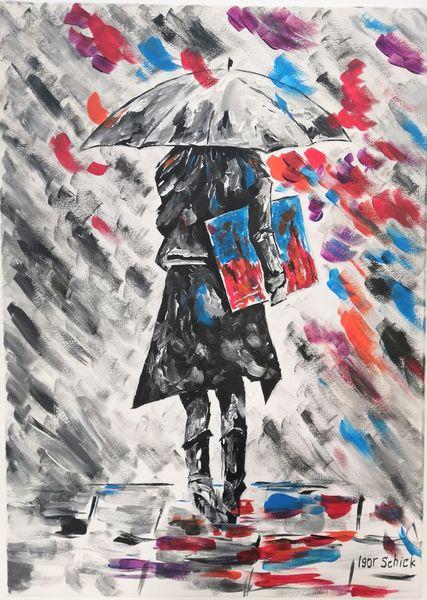 Frau, Malerei, Farben, Acrylmalerei
