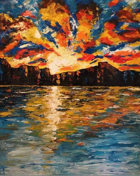 Acrylmalerei, Sonnenuntergang, Sonne, Malerei, Seele, Berge