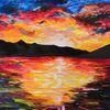 Malerei, Berge, Farben, Meer